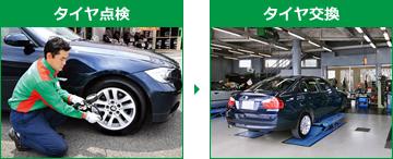タイヤ点検→タイヤ交換イメージ